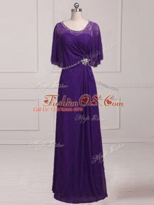 Floor Length Purple Mother Of The Bride Dress Lace Sleeveless Beading and Appliques