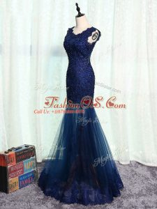 Navy Blue Zipper Scoop Beading and Lace and Appliques Mother Of The Bride Dress Tulle Sleeveless