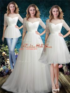 White Bridal Gown Tulle Brush Train Half Sleeves Beading
