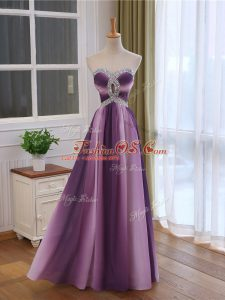 Nice Chiffon and Printed Sweetheart Sleeveless Lace Up Beading and Ruching Formal Evening Gowns in Multi-color