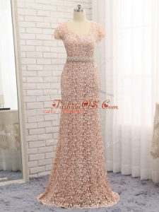 Custom Designed Peach Column/Sheath Beading and Belt Mother Of The Bride Dress Zipper Lace Cap Sleeves Floor Length