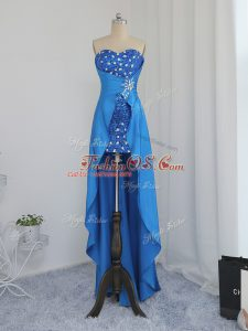 Charming Elastic Woven Satin Sleeveless High Low Club Wear and Beading