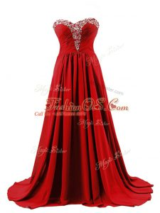 Vintage Red Empire Beading Dress for Prom Lace Up Elastic Woven Satin Sleeveless