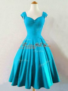 Stunning Knee Length Baby Blue Damas Dress Straps Sleeveless Lace Up