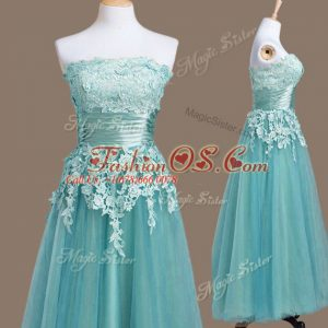 Pretty Light Blue Strapless Neckline Appliques Bridesmaid Dresses Sleeveless Lace Up