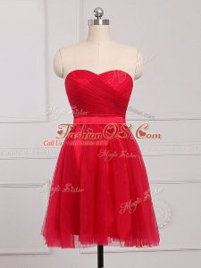 Amazing Sleeveless Zipper Mini Length Ruching Quinceanera Court Dresses
