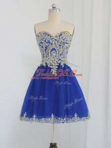 Beautiful Sweetheart Sleeveless Zipper Prom Evening Gown Royal Blue Tulle