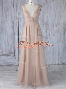 Elegant Peach Zipper V-neck Lace Bridesmaids Dress Tulle Sleeveless