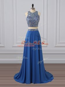 Exquisite Chiffon Sleeveless Floor Length Prom Gown and Beading and Sequins