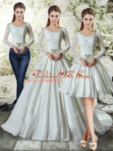 New Style Long Sleeves Chapel Train Lace and Belt Lace Up Wedding Gown