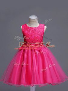 Hot Pink Little Girl Pageant Dress Wedding Party with Lace Scoop Sleeveless Zipper