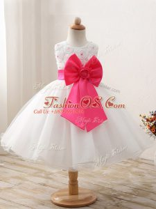 Mini Length White Little Girls Pageant Dress Organza Sleeveless Bowknot