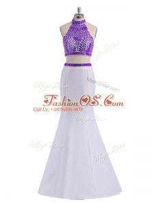 Cheap Floor Length Two Pieces Sleeveless White And Purple Prom Dresses Criss Cross