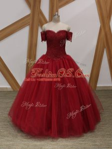 Wine Red Ball Gowns Off The Shoulder Sleeveless Tulle Floor Length Lace Up Appliques Ball Gown Prom Dress