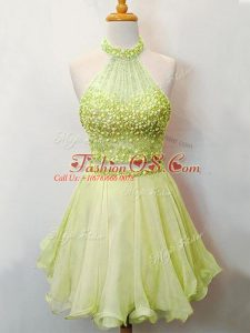 Affordable Yellow Green Organza Lace Up Bridesmaids Dress Sleeveless Knee Length Beading