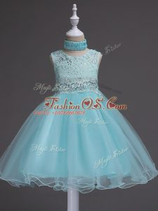 Sleeveless Knee Length Beading and Lace Zipper Little Girls Pageant Dress Wholesale with Aqua Blue