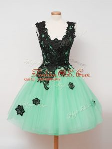 Charming Turquoise Sleeveless Lace Knee Length Dama Dress for Quinceanera