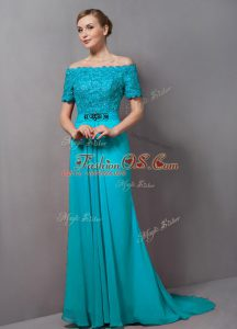 Charming Aqua Blue Mother Of The Bride Dress Off The Shoulder Short Sleeves Sweep Train Zipper