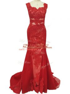Unique Red Tulle Zipper Mother Of The Bride Dress Sleeveless Brush Train Lace
