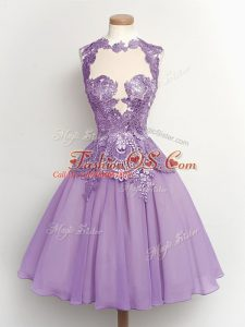 Spectacular Lavender A-line High-neck Sleeveless Chiffon Knee Length Lace Up Lace Bridesmaid Dresses
