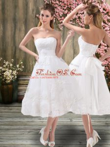 Sweetheart Sleeveless Bridal Gown Tea Length Appliques and Embroidery and Belt White Organza
