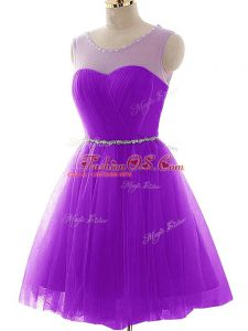 Custom Fit Scoop Sleeveless Evening Dress Mini Length Beading and Ruching Purple Tulle