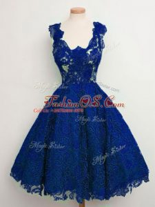 Custom Design Lace Straps Sleeveless Lace Up Lace Bridesmaid Gown in Royal Blue