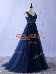 Charming Navy Blue Sleeveless Tulle Lace Up Runway Inspired Dress for Prom and Party