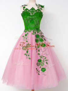 Artistic Rose Pink Tulle Lace Up Straps Long Sleeves Knee Length Bridesmaid Gown Appliques
