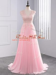 Baby Pink Homecoming Dress Prom and Party with Lace and Appliques V-neck Sleeveless Brush Train Side Zipper