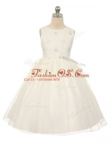 Luxurious Sleeveless Knee Length Beading Lace Up Kids Pageant Dress with White