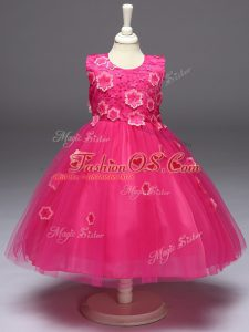 High Quality Hot Pink Sleeveless Tulle Zipper Little Girl Pageant Dress for Wedding Party