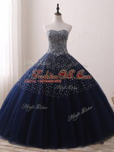 Navy Blue Ball Gowns Beading Quince Ball Gowns Lace Up Tulle Sleeveless Floor Length