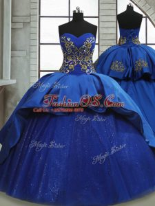 Royal Blue Satin and Tulle Lace Up Sweetheart Sleeveless Sweet 16 Dresses Sweep Train Beading and Appliques