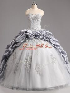 Charming Sleeveless Taffeta and Tulle Brush Train Lace Up 15 Quinceanera Dress in Silver with Beading and Appliques and Pick Ups