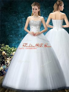 Hot Sale White Ball Gowns Beading and Embroidery Wedding Dress Lace Up Tulle Sleeveless Floor Length