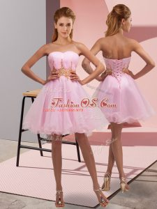 Exceptional Mini Length Baby Pink Womens Party Dresses Organza Sleeveless Beading and Ruching