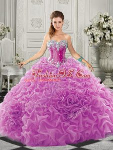 Ideal Lilac Organza Lace Up 15 Quinceanera Dress Sleeveless Court Train Beading and Ruffles