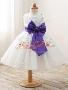 Attractive Sleeveless Organza Floor Length Zipper Girls Pageant Dresses in White with Bowknot