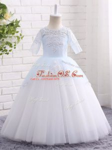 Floor Length Ball Gowns Half Sleeves Blue And White Kids Formal Wear Clasp Handle