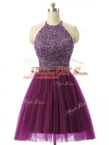 Sleeveless Tulle Mini Length Backless Club Wear in Dark Purple with Beading and Sequins
