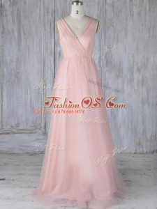 Stylish Tulle V-neck Sleeveless Zipper Lace Wedding Guest Dresses in Baby Pink
