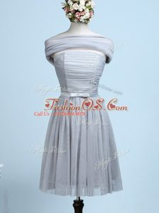 Grey Sleeveless Belt Mini Length Court Dresses for Sweet 16