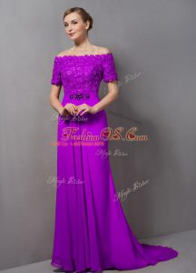 Purple Short Sleeves Chiffon Sweep Train Zipper Mother Of The Bride Dress for Prom and Party