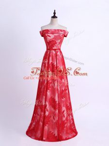 Ideal Red Sleeveless Floor Length Pattern Lace Up Bridesmaids Dress