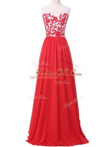 Classical Red Empire Lace and Appliques Evening Dress Lace Up Chiffon Sleeveless