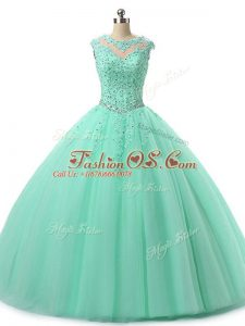 Hot Sale Scoop Sleeveless Sweet 16 Dress Floor Length Beading and Lace Apple Green Tulle