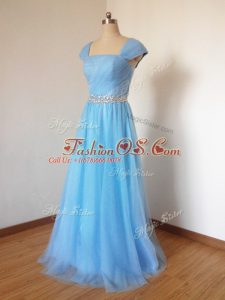 Exceptional Baby Blue Tulle Zipper Square Cap Sleeves Floor Length Bridesmaid Dress Beading
