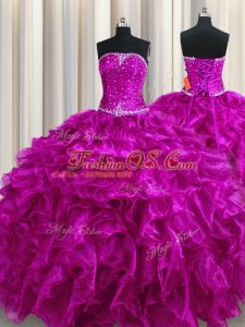 Fuchsia Sleeveless Floor Length Beading and Ruffles Lace Up Ball Gown Prom Dress