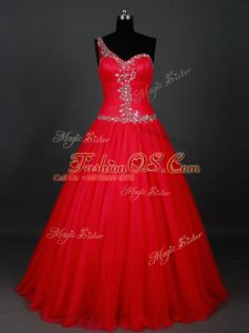 Red Zipper Military Ball Dresses For Women Beading Sleeveless Floor Length